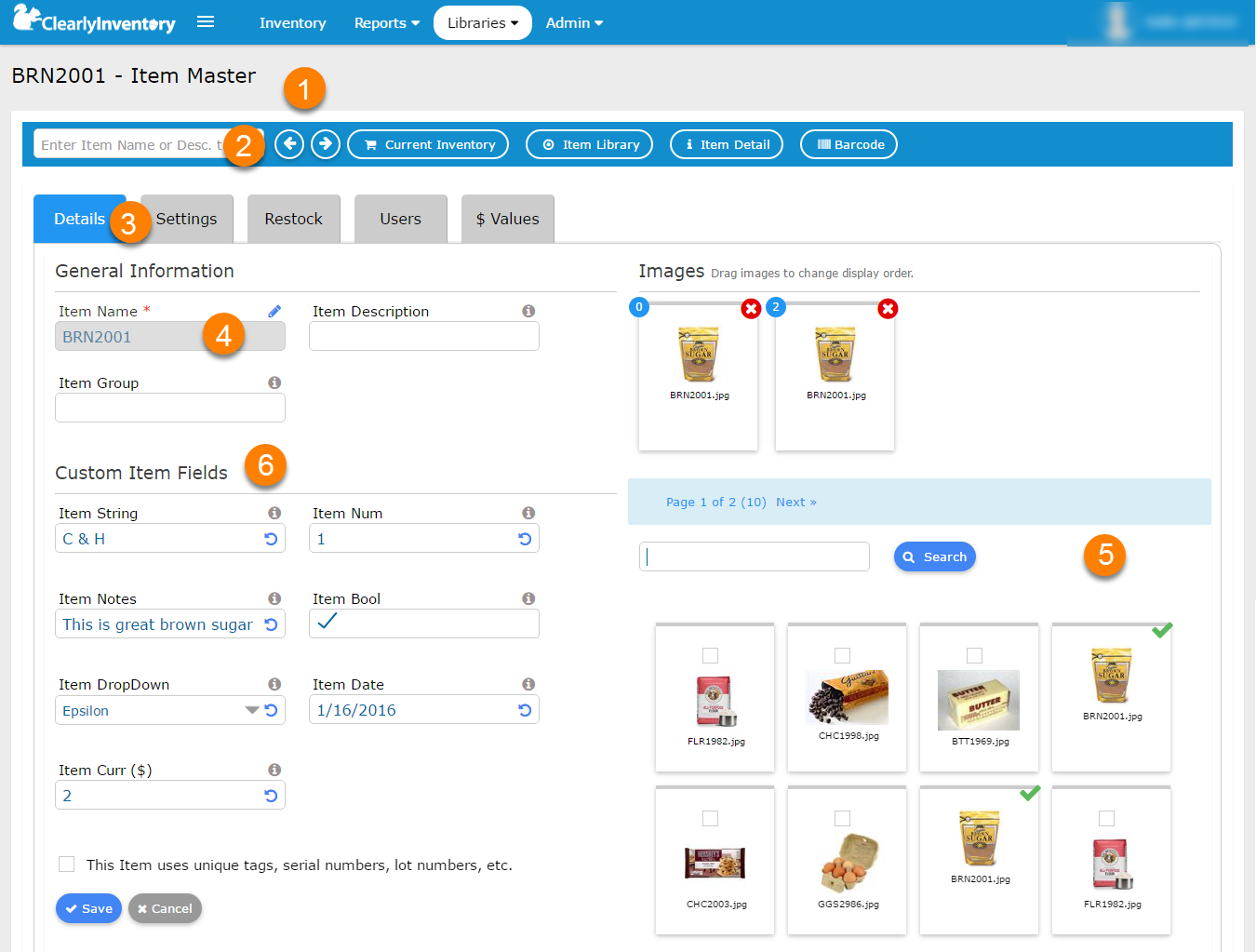 A screenshot of the MyInventory Page, the main interface of the Clearly Inventory application.