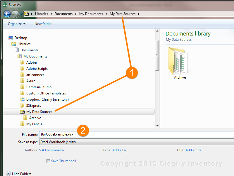 The file location should be \MyDocuments\MyDataSources\ and the filename should be BarCodeExamples.xlsx