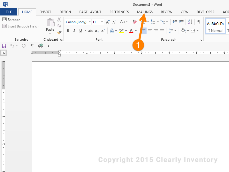 Open a new word document and click the 'Mailings' tab