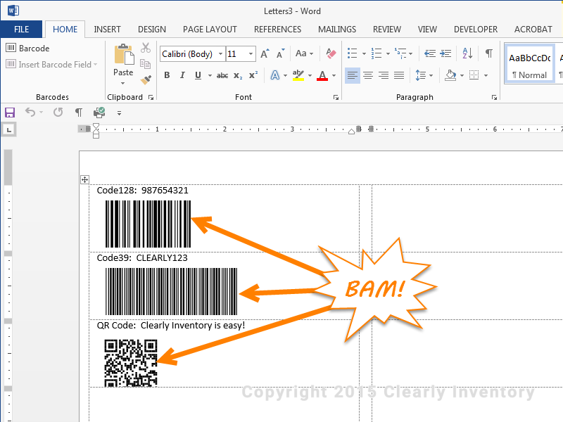 Your barcode should now appear like this with a CODE128 in the first label, a CODE39 in the second label, and a QR code in the third label.