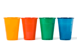 Colored plastic cups are use to illustrate the hazards of poor inventory item descriptions.