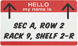 A name tag that says
