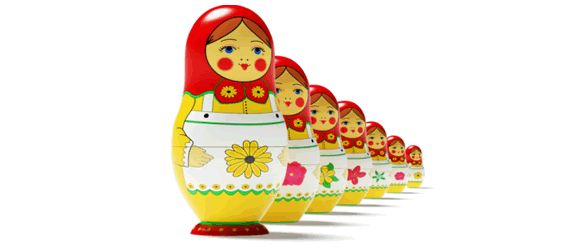 Russian dolls represent the staff at Clearly Inventory - humorous