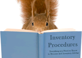 Squirrel reading an inventory procedure manual.